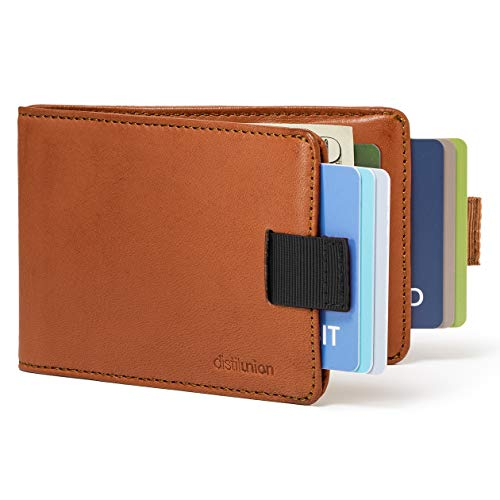 Distil Union Slim Wallets for Men with FlexLock™ – Minimalist Bifold Wallets with Money Clip (Hickory with RFID Shielding)