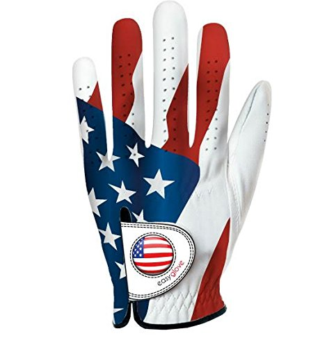 Easy Glove USA Men's Left Hand Golf Glove With Ball Marker (Medium Large) (Show Gloves Pro Leather)