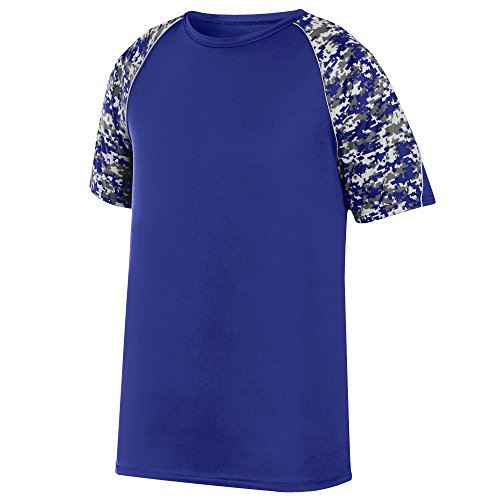 Color Block Piping (Augusta Sportswear Boys' Color Block Digi Camo Jrsy M Purple/Purple Digi/Silver)