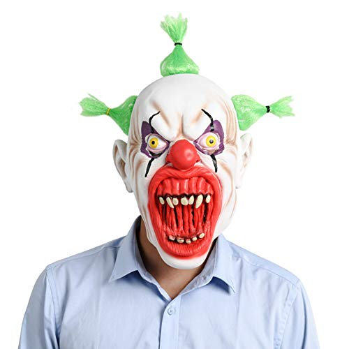 JIAAE Halloween Christmas Mask Horror Latex Blood Mouth Clown Headgear Prom and Party -