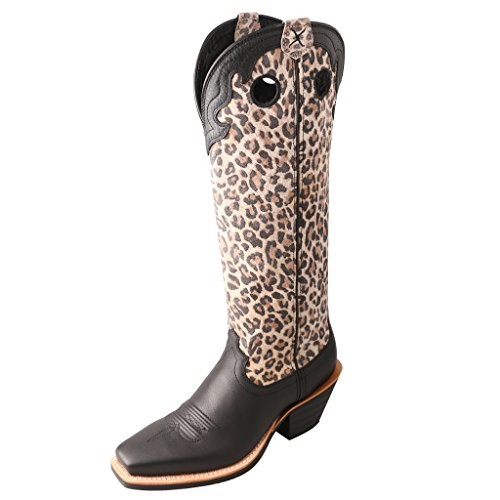 (Twisted X Womens Black Leather 16in Leopard Buckaroo Cowboy Boots 5.5B)