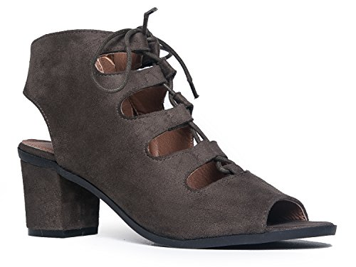 Gladiator lace up Low Heel Bootie - Chunky Block Ankle Boot - Trendy Tie Up Sandal - Twirl by J. Adams