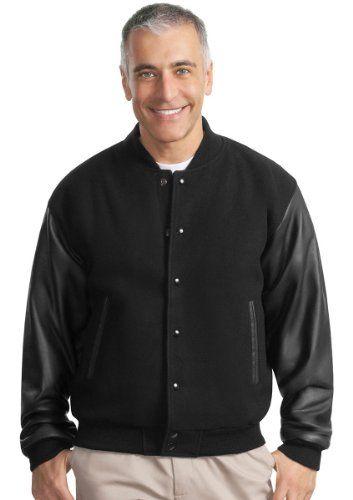 [Port Authority J783 Wool and Leather Letterman Jacket - Black/Black - XXX-Large] (Leather Letterman Jacket)