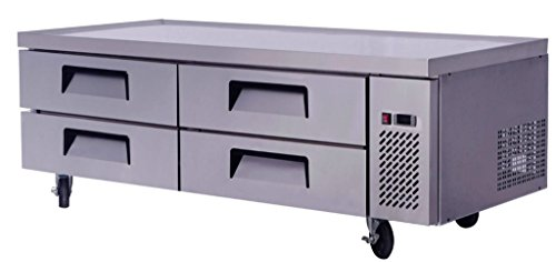 72'' Extended Top Stainless Steel Fridge Refrigerator Chef Base Work Table, MGF-8453, with 4 Cold Drawers (15.0 CF per) by MCP-Distributions
