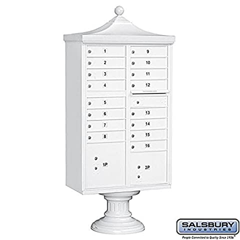 Salsbury Industries 3316R-WHT-U Regency Decorative CBU with CBU, Pedestal, CBU Top and Pedestal Cover, 16 A Size Doors, Type III, USPS Access, - Regency Cluster Box Unit