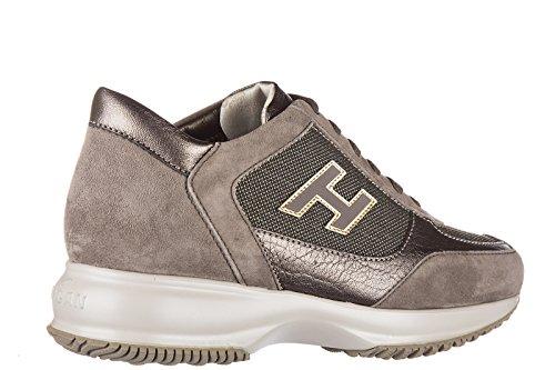 Hogan scarpe sneakers donna camoscio nuove interactive h flock marrone