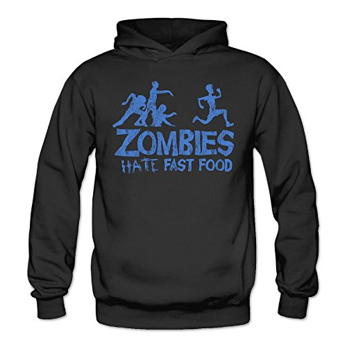 (Funny Zombies Hate Fast Food Classic Women's Hooded Sweatshirts Black)