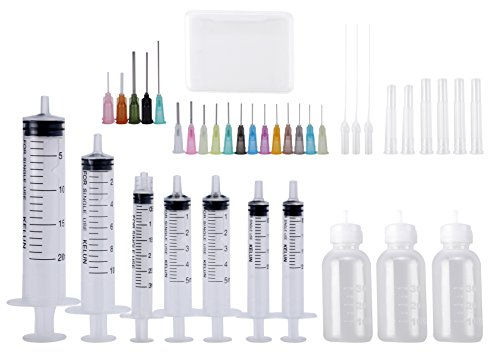 Dispenser Syringe Applicator Set - Syringes,Plastic Squeeze Bottles and Needle Tips,Works for Precisely Delivery Grease and Glue - Luer Lock Bottle