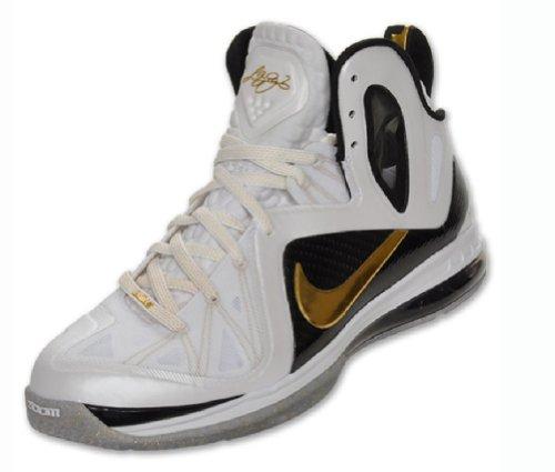 Nike Basketball Elite Series (Lebron 9 P.S.) White/Metallic Gold-Black (8)