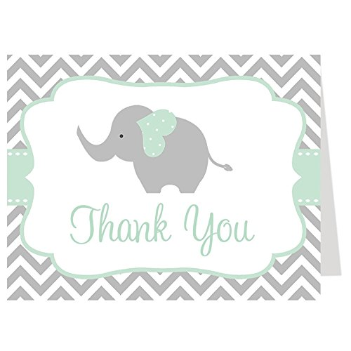Elephant Thank You Cards, Chevron, Stripes, Baby Shower, Sprinkle, Little Peanut, Gender Neutral, Mint, Green, Gray, Grey, 50 Printed Folding Notes with White Envelopes, Chevron Elephant