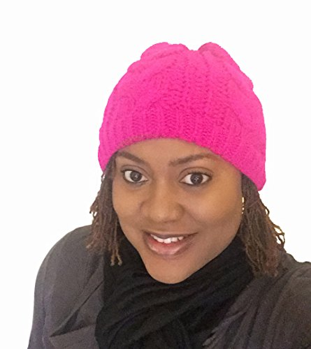 Pink Satin Lining (Vibrant Color Satin Lined Knit Beanie Hat (Pink))