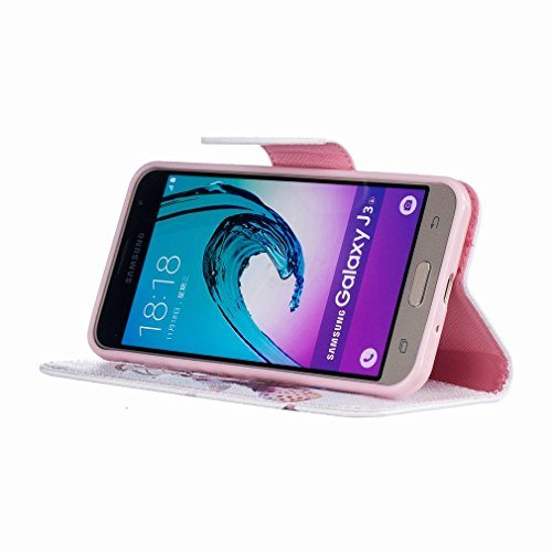 Yiizy Samsung Galaxy J3 (2016) J320 Funda, El Color Campanula Diseño Solapa Flip Billetera Carcasa Tapa Estuches Premium PU Cuero Cover Cáscara Bumper Protector Slim Piel Shell Case Stand Ranura para