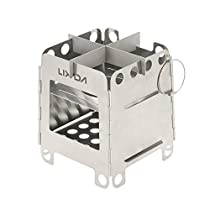 Lixada Lightweight Folding Pocket Wood Stove Portable Stainless Steel for Outdoor CampingBackpacking