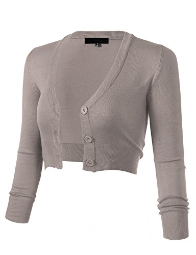ARC Studio Women's Solid Button Down 3/4 Sleeve Cropped Bolero Cardigans 4XL Light Grey CO129