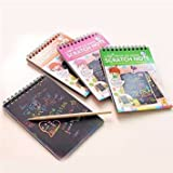 """Premium Scratch & Sketch Art Note Pads - (4 Pack) Mini Rainbow Art & Doodle Pad. Small size [4 pads with assorted covers, 4"""" x 5.5"""", 10 sheets and 1 stylus per pad]. Great for Kids!"""