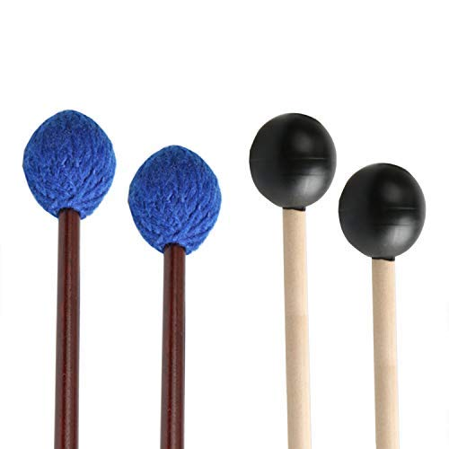 Medium Soft Marimba Mallets - UNIME 2 Pairs Keyboard Marimba Mallets Wood Handle, Medium Blue Hard Yarn Head Keyboard Marimba Mallets, Black Rubber Bell Mallets Glockenspiel Sticks