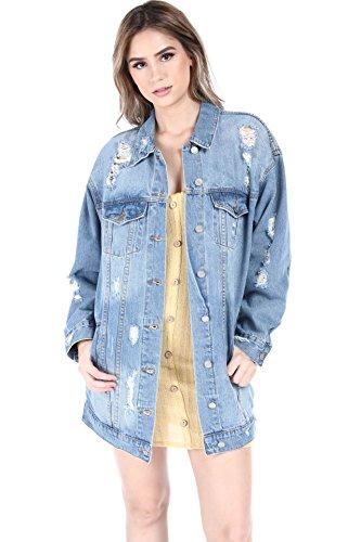 (SALT TREE The Blue Jean Women's Destroyed Boyfriend Over Sized Denim Jacket)