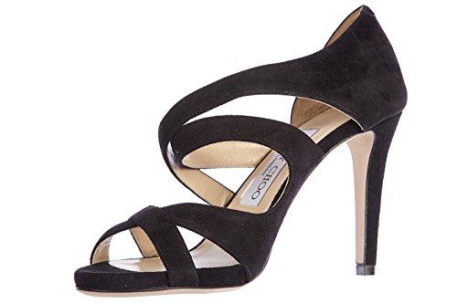 Choo de negro nuevo sandalias ante valance en tacón Jimmy mujer HS4wqvvR