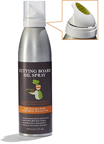 Cutting Board & Butcher Block Oil - Unique Spray Made From 100% Non-GMO Walnut Oil - Naturally Protects and Beautifies Wood Kitchen Products - Healthier than Mineral Oil - Made in USA - Greener Chef (Cutting Board Cleaner compare prices)