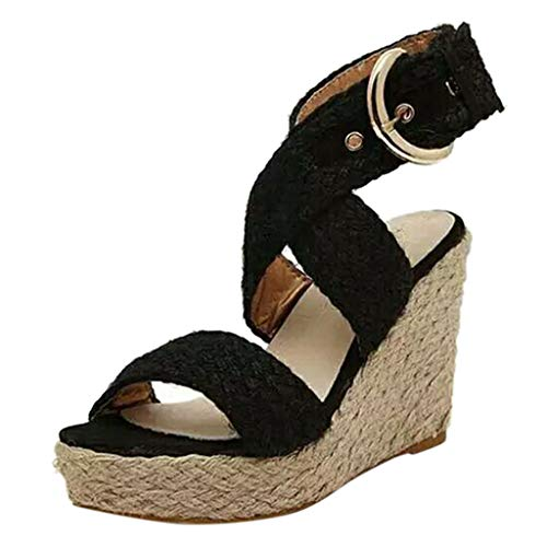 Women Wedges Sandals, LONGDAY Gladiator Espadrille Shoes Ankle Strap Straw Woven Criss Cross Plus Size Bohemian Black (Best Cross Platform Calendar)
