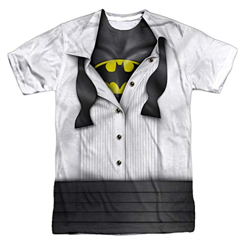 Batman Tuxedo Shirt DC Comics T Shirt & Exclusive Stickers (X-Large)