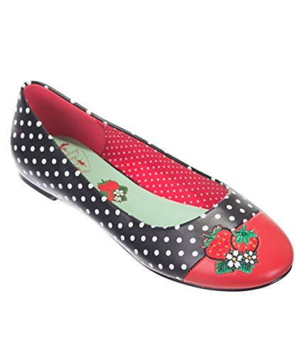 Dot Apparel Vintage Black Strawberry Flats Polka Retro Banned Red Isabella qwOdEXX