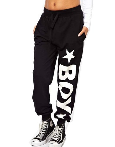 WIIPU Womens loose hip hop punk sports pants with london boy print(J115) (M)