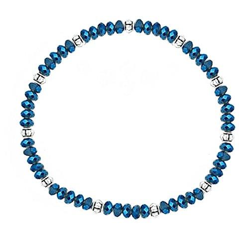 Stretch Bead Ankle Bracelet Anklet - Metallic Blue (A97)