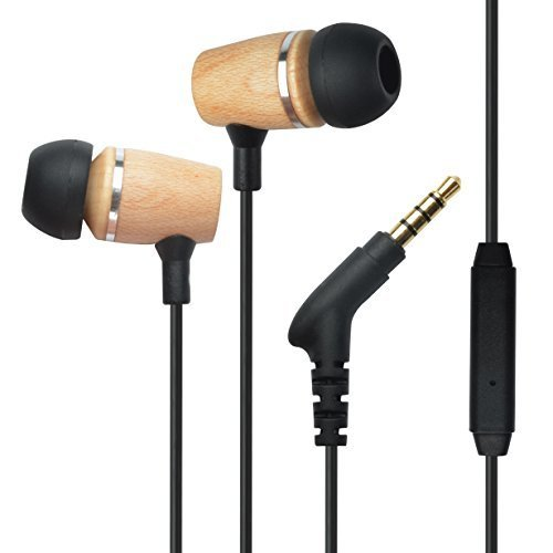 Francois et Mimi Elite Genuine 3.5mm Wood In-ear Noise-isolating Earbuds Headphones with Mic, Retail - Americas Outlet Mall