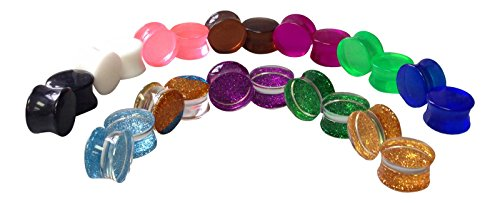 -12 PAIR SET- Glitter and Solid Color/Semi-Transparent Saddle Double Flare Plugs (0g (8mm) ) (Acrylic Double Flare)