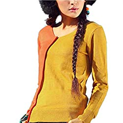 Wndsyn Womens Winter Cashmere Sweaters Auntmun Knitted Pullovers Warm Female Thickening Patchwork Orange Xl
