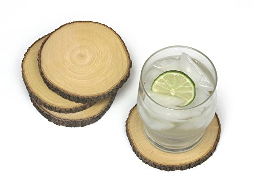 Lipper International 1034 Acacia Tree Bark Coasters, Set of ()