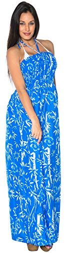 (LA LEELA Soft  Printed Hawaiian Casual Tube Dress Strap Bright Blue 326 One Size)