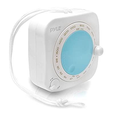 Splash Proof Water Resistant Mini AM/FM Radio with Hanging Strap, Rotary Volume Control, Manual Tuner from Pyle