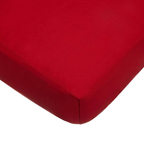 American Baby Company 100% Natural Cotton Percale Fitted Crib Sheet for Standard Crib and Toddler Mattresses, Red, Soft Breathable, for Boys and Girls