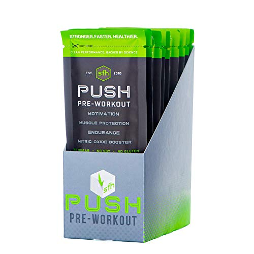(Push Pre-Workout Powder (Fruit Punch) by SFH | Best Tasting 5g BCAA's for Muscle Repair | Non-Dairy, No Artificial Flavors, Colors, or Sweeteners (Fruit Punch, Single Serve))