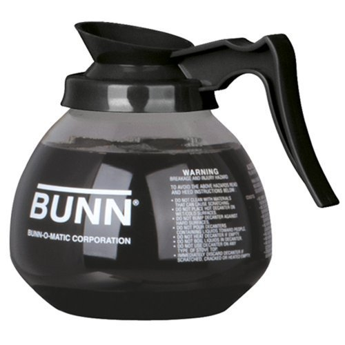 Bunn Glass Decanter - BUNN Coffee Pot Decanter/Carafe Black Regular - New Glass Design Shape - Ergonomic Handle - 12 Cup Capacity -