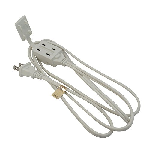 6Ft 3-Outlet Power Extension Cord White 16AWG/2