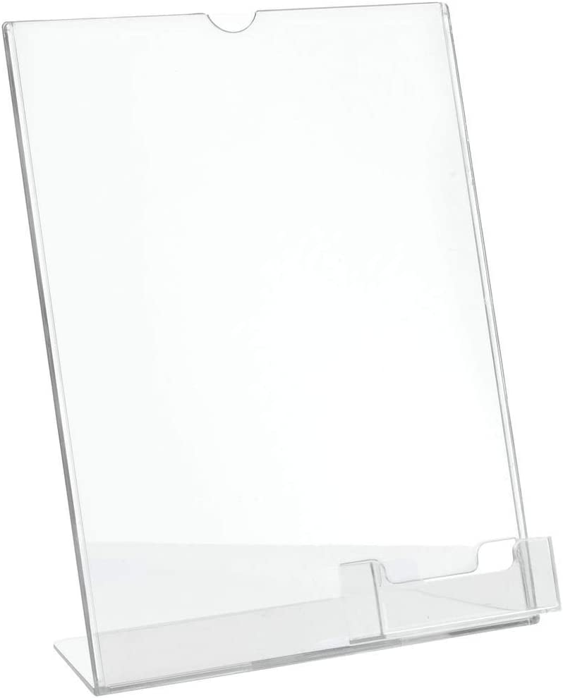 "Deflecto Superior Image Slanted Sign Holder with Business Card Holder, Clear, 8-1/2"" x 11"" (590601)"