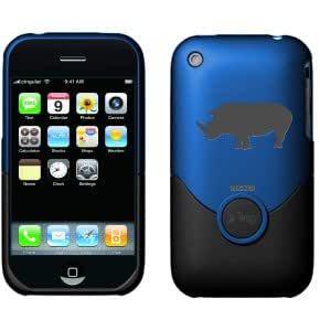 Coveroo Rhino Silhouette Design on iFrogz Luxe Case for iPhone 3G/3GS - Royal Blue