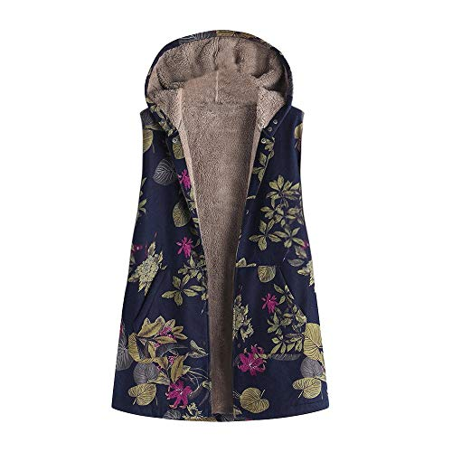 JOFOW Womens Vest Boho Floral Flowers Leaves Print Hooded Fleece Lined Sleeveless Jacket Coat Warm Vintage Winter Plus Size (4XL =US:18-22,Navy-Flowers)