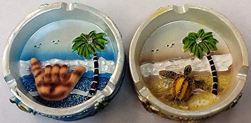 Ashtray Porcelain Hang Loose Turtle, Palm Tree, Ocean Design Set of 2 Pieces ()