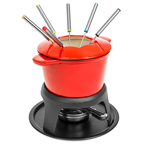 Best Choice Products Cast Iron Enamel Fondue Set w/ 6 Forks, Carrying Handles, and Splash Protector - ()