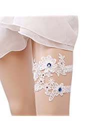 Xoemir Lady 2018 Romantic Flower Rhinstones Wedding Bridal Lace Garter Set 2 Pcs
