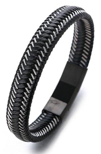 halukakah-jazz-mens-genuine-leather-bracelet-titanium-magnetic-clasp-size-adjustable-82-8721-22cm-wi