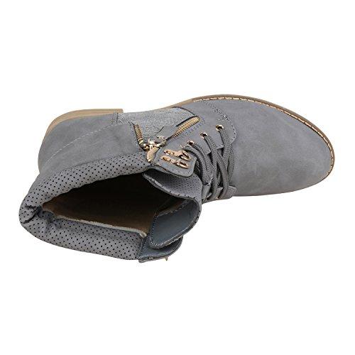 napoli-fashion Damen Schnürstiefeletten Spitze Stiefeletten Zipper Worker Boot Jennika Grau New