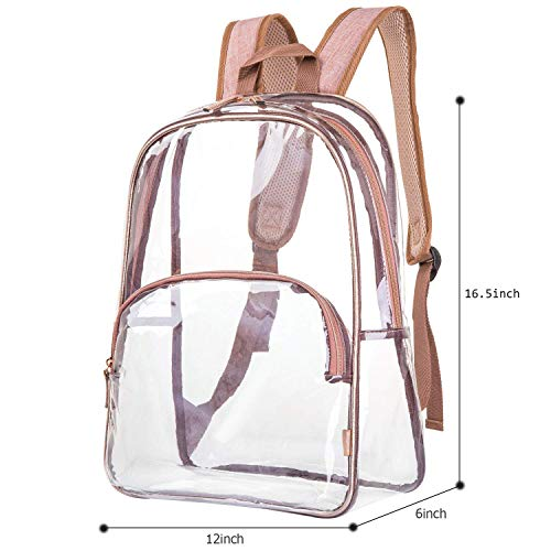 NiceEbag 6 in 1 Clear Backpack with Cosmetic Bag & Case, Clear Transparent PVC School Backpack Outdoor Bookbag Portable Travel Toiletry Bag Makeup Quart Luggage Organizer (Rose Gold) by NiceEbag (Image #8)