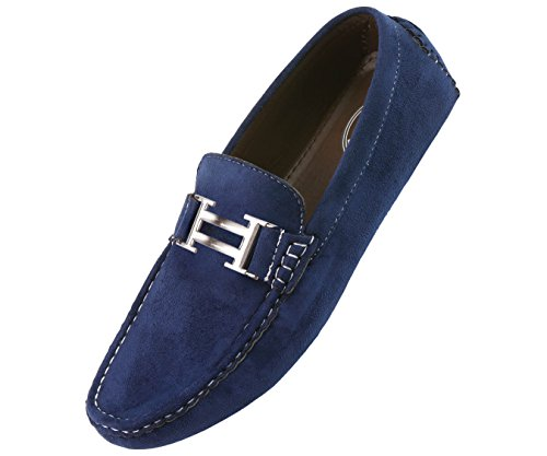 Amali Mens Casual Shoe Driving Moccasin Loafer in Navy Blue Microfiber With Silver Ornament: Style 1417 Navy Blue-002 10.5 D (M) US