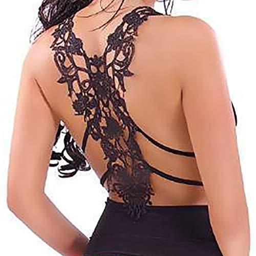 (FarJing Hot sale Fashion Sexy Womens U Neck Lace Trim Racerback Tank Tops Hollow Out Sport Vest (S, wwBlack))