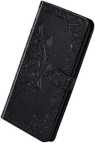 Herbests Kompatibel mit Huawei Honor 20 Pro Hülle Leder Handyhülle 3D Retro Mandala Blumen Muster Lederhülle Flip Cover Case Klappbar Bookstyle Brieftasche Ledertasche Schutzhülle,Schwarz